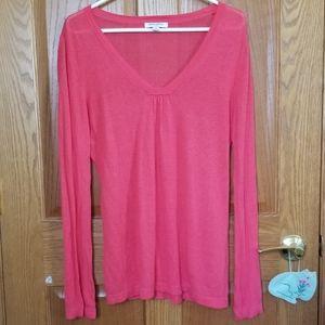 Banana Republic Hot Pink Long Linen Blend Sweater